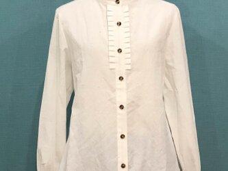 フリルシャツ ネップミックスダンガリー WHTの画像