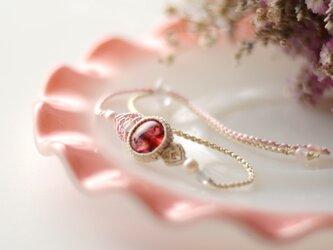 【シルク】ピンクトルマリン/マクラメブレスレットの画像
