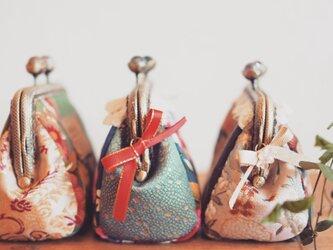 ★台湾花布★宝石輝くガマ口100%手縫ポーチ【受注製作】の画像