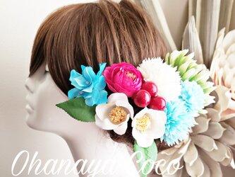 重ね菊と白椿の華やか和装髪飾り9点Set No703の画像