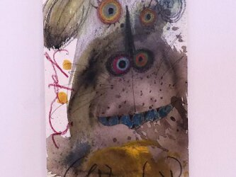 手描きの現代アート/現代絵画/おしゃれな壁掛け/カラフルな現代アート/可愛いインテリア・もくもくシリーズ・犬の画像