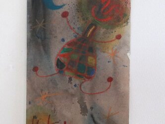 手描きの現代アート/現代絵画/おしゃれな壁掛け/可愛いインテリア/カラフルな絵画・もくもくシリーズ・こどもと星の画像