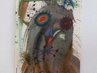 手描きの現代アート/現代絵画/おしゃれな壁掛け/可愛いインテリア/カラフルな絵画・もくもくシリーズ・怪獣と夜空の画像