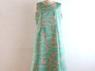絹紬 緑唐草 ジャンパースカート Mサイズの画像