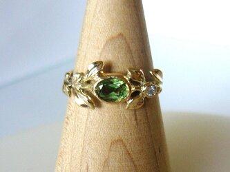 デマントイドガーネットとダイヤのリーフの指輪(K14)の画像