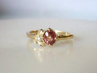 マラヤガーネットとダイヤとリーフの指輪(K14)の画像