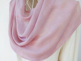 草木染め(薄紅藤色・絞り染め)シルク・シフォン・ストールの画像