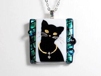 ダイクロガラス ペンダント:猫(エメラルド)の画像