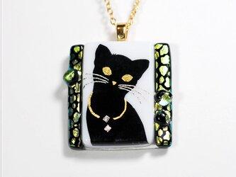 ダイクロガラス ペンダント:猫(イエローグリーン豹柄)の画像