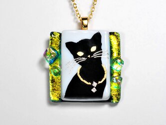 ダイクロガラス ペンダント:猫(イエローグリーン)の画像