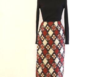 絹 花菱 巻スカート風ロングスカート 銘仙 MLサイズの画像