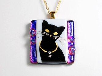 ダイクロガラス ペンダント:猫(パープル)の画像