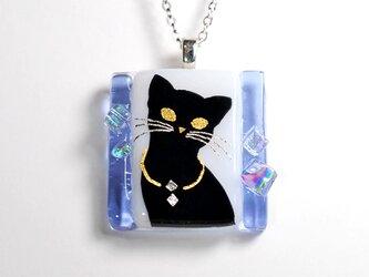 ダイクロガラス ペンダント:猫(ラベンダー)の画像