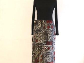絹 タイル 巻スカート風ロングスカート 銘仙 MLサイズの画像