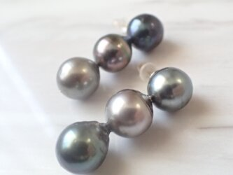 K14GF triple tahitian pearl pierceの画像