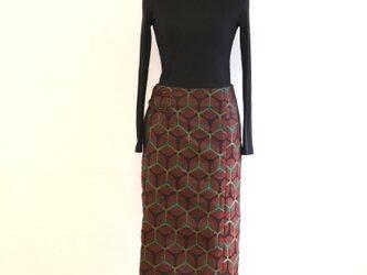 交織 亀甲菊 巻スカート風ロングスカート MLサイズの画像