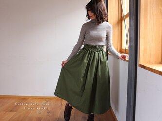 【Fサイズ】しっかりコットンリネンで魅せる、ウエストゴムのロングギャザースカート(綿麻アイビーグリーン)の画像