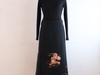 貝桶の黒羽織りから 巻スカート MLサイズの画像