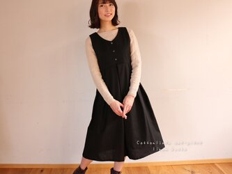 【S〜M】○ジャンパースカート○コットンリネンで魅せる、大人のノースリーブタックワンピース(綿麻ブラック)の画像