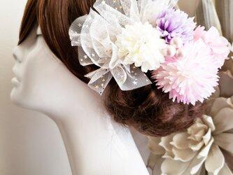 花funwari 甘口色マムとチュールの髪飾り7点Set No706の画像