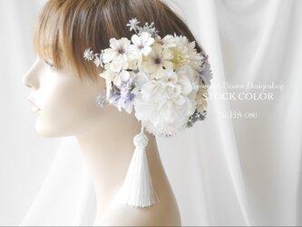 ダリアとコスモスのヘッドドレス/ヘアアクセサリー(コーラルオレンジ)*結婚式・成人式・ウェディングドレスにの画像