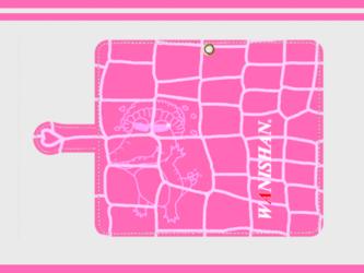 【受注製作】クロコダイル柄をモチーフにしたワニ柄ケース♪ピンクの画像
