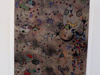 カラフルな現代アート/絵画/モダンアート/インテリア絵画/手描き現代絵画・ボクの気分は上昇中NO.1の画像