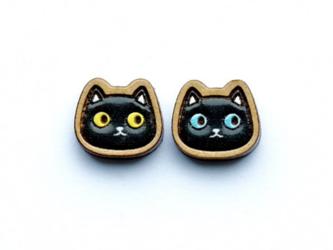 『田田製作所』手作り レディースピアス 黒猫の画像