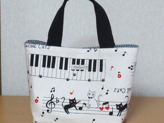 【再販】ミニトートバッグ★ネコと鍵盤柄(生成)の画像