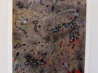 カラフルな現代アート/絵画/モダンアート/インテリア絵画/手描き現代絵画・ボクの気分は上昇中NO.2の画像