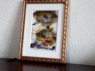 手描きの現代アート/現代絵画/おしゃれな壁掛け/可愛いインテリア/カラフルな絵画・もくもくシリーズ・双子の星の画像