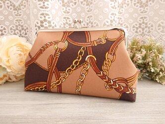 ◆【再販】トレンドスカーフ柄がま口ポーチブラウン*チェーンベルトサイケがま口バッグ旅行プの画像