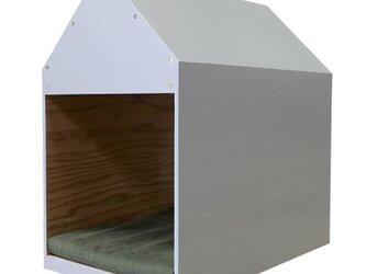 インテリアになる犬小屋 ドッグハウス  ペットハウス 木製 グレー 室内用の画像