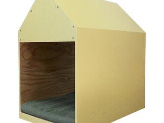 インテリアになる犬小屋 ドッグハウス  ペットハウス 木製 イエロー 室内用の画像
