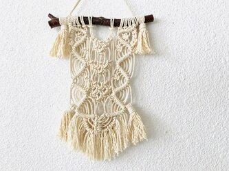 マクラメ編みタペストリー~栗の枝とコットン生成り糸(#30)で♪の画像