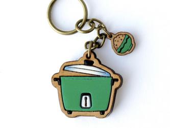 『田田製作所』手作り レディースイヤリング 炊飯器緑の画像