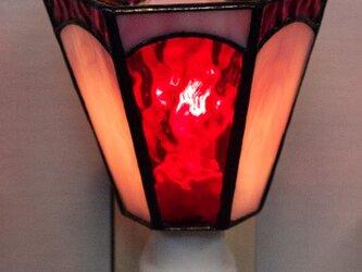 「おやすみランプ・赤色系六面体」ステンドグラス・照明・赤・ピンク・フットランプの画像
