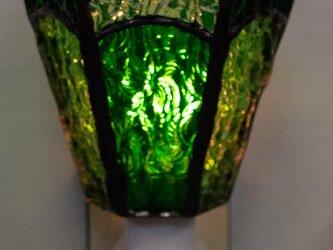 「おやすみランプ・グリーン系六面体」ステンドグラス・照明・緑色・フットランプの画像