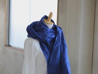 【NEW】大判ストールW52 先染めリトアニアリネン ロイヤルブルーの画像