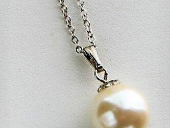 6月誕生石★卒業・入学式★パール★1粒シンプル・シルバー菊座付きネックレス♪の画像