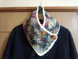 手縫い屋☆編み編み☆おしゃれネックウォーマー76㎝☆シックな混ざり毛糸色&白☆ギフトの画像