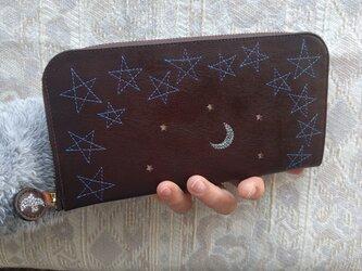 刺繍革財布『星空』牛革(ラウンドファスナー型)焦げ茶×blueの画像