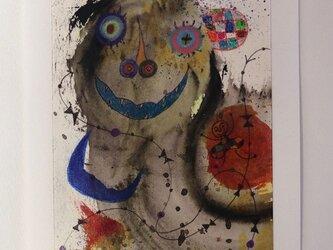 手描きの現代アート/現代絵画/おしゃれな壁掛け/可愛いインテリア/カラフルな絵画・もくもくシリーズ・怪獣の王様とこどもの画像