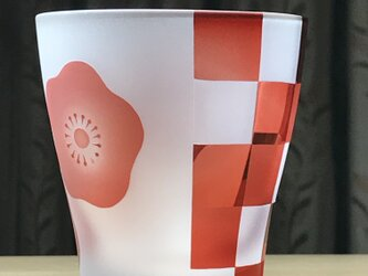 紅梅市松フリーグラス 無色×赤 (1個)の画像