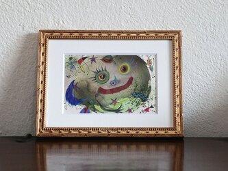 手描きの現代アート/現代絵画/おしゃれな壁掛け/可愛いインテリア/カラフルな絵画・もくもくシリーズ・太陽の赤ちゃんの画像