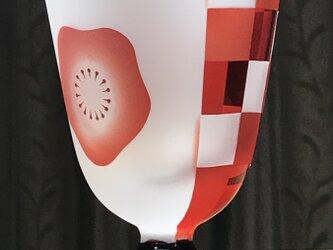 台付き紅梅市松グラス 無色×赤+黒 (1個)の画像