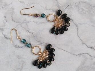 雫のタッセルピアス (黒) #4; Tassel earring (black) #4の画像
