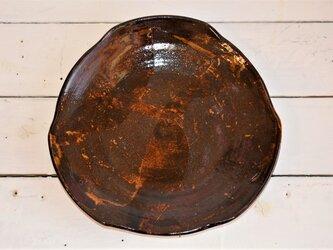 飴釉掛け分け三方皿の画像