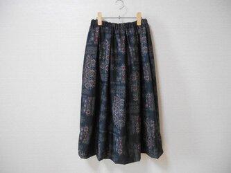 黒大島紬リメイクスカートの画像