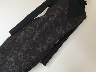 0117    着物リメイク Vネックジャンバースカート     十日町紬  M~L寸法の画像